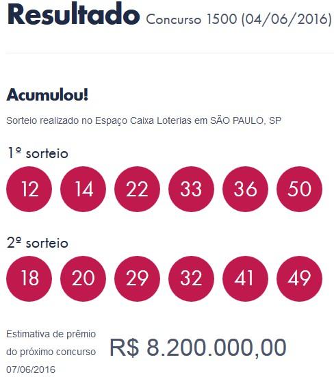Dupla sena acumula em R$ 8, 2 milhões