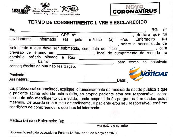 Termo de consentimento que os pacientes que estão sendo colocados em isolamento devem assinar