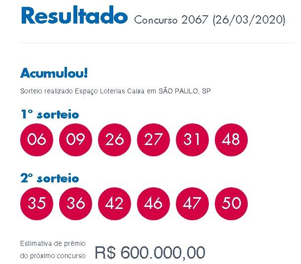 Loterias: Dupla-Sena acumula