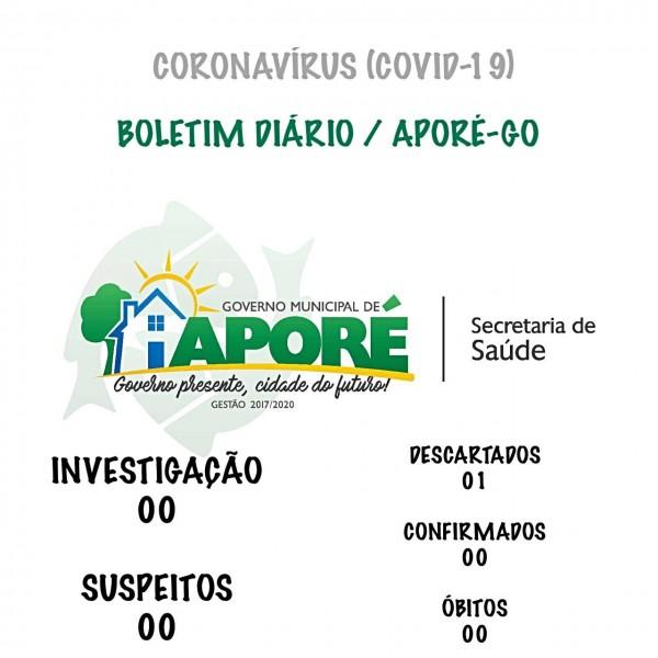 Aporé/GO: saiu o resultado do exame do primeiro caso suspeito de coronavírus