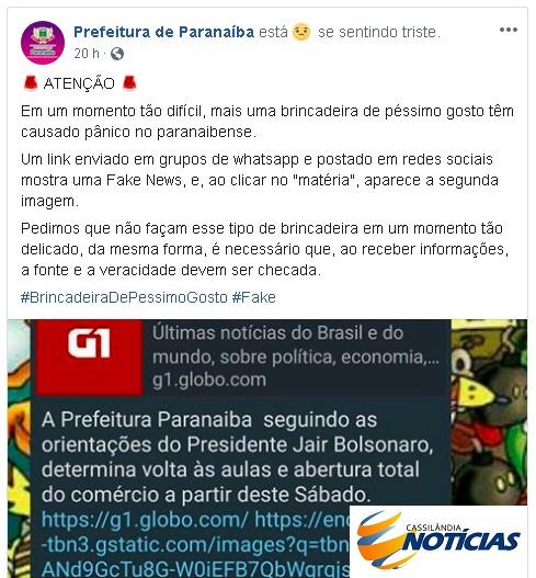 Coronavírus: Prefeitura de Paranaíba desmente FakeNews de reabertura do comércio