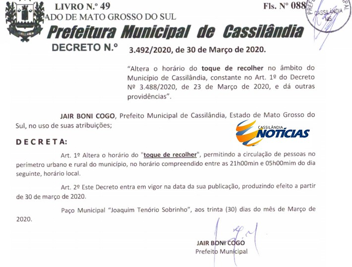 Prefeitura publica Decreto alterando o horário do Toque de Recolher