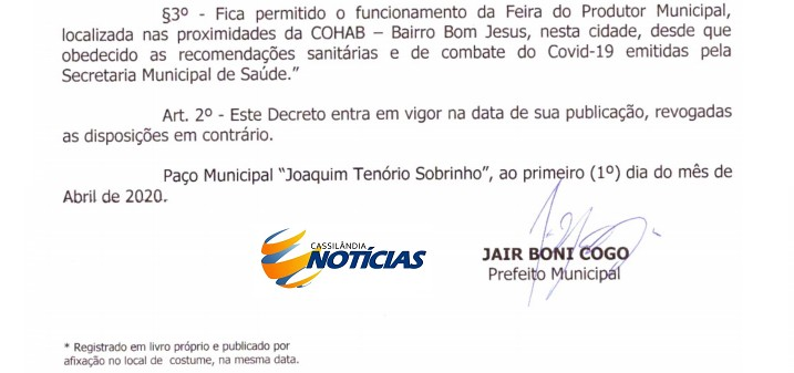 Publicada alteração no Decreto Municipal para permitir o funcionamento da Feira