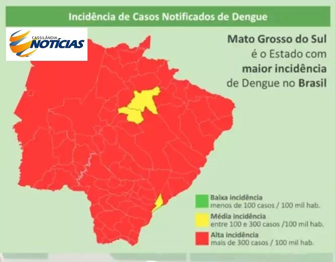 Mapa divulgado pelo governo mostra alta incidência da dengue em MS (Foto/Reprodução