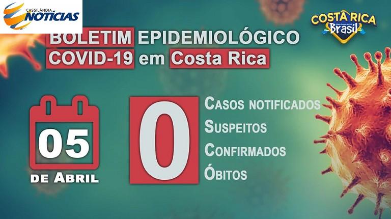 Covid-19: confira o boletim diário da Secretaria de Saúde de Costa Rica