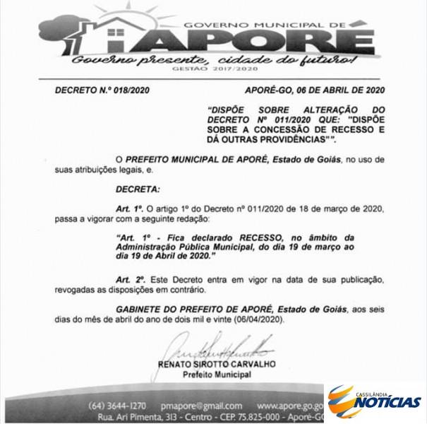 Goiás: Prefeitura de Aporé decreta recesso no âmbito da administração municipal