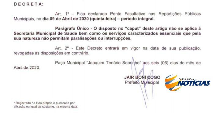 Prefeitura de Cassilândia decreta ponto facultativo na próxima quinta-feira