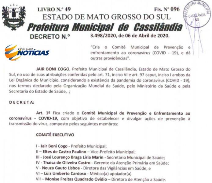 Covid-19: Comitê de Combate ao Coronavírus em Cassilândia agora é oficial
