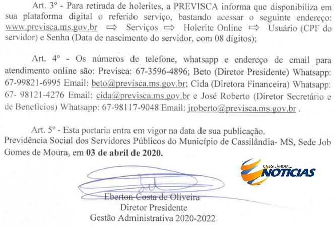 Cassilândia: Previsca prorroga atendimento público por telefone pelo Covid-19