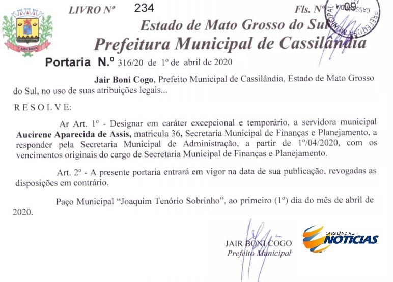 Em caráter excepcional, Prefeitura de Cassilândia nomeia Secretário temporário