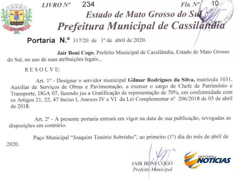 Prefeito de Cassilândia nomeia novo Chefe de Patrimônio e Transporte