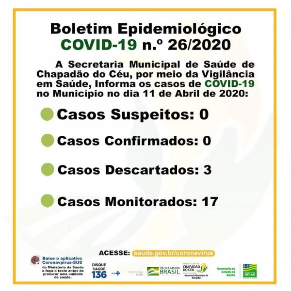 Covid-19: boletim diário da Secretaria de Saúde de Chapadão do Céu