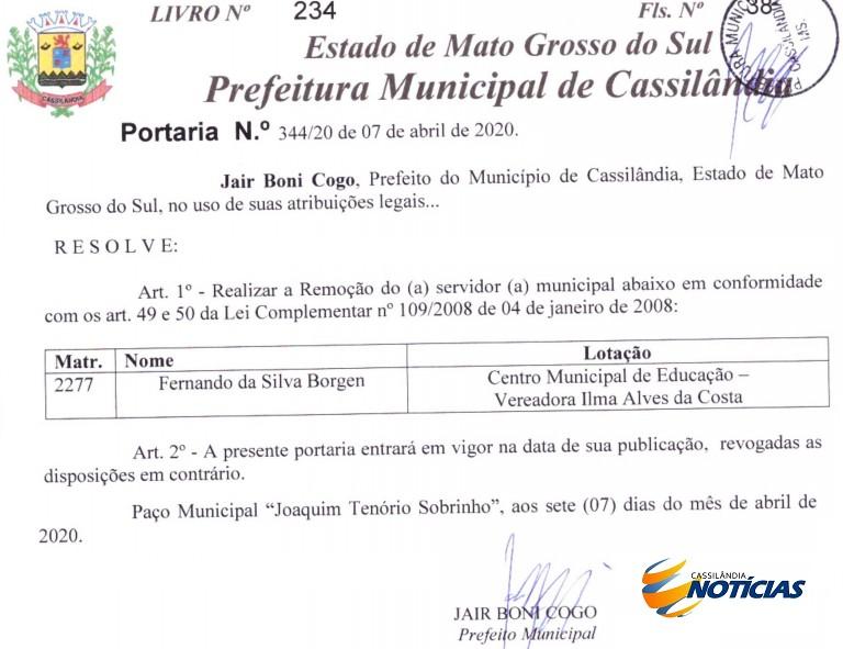 Prefeitura de Cassilândia realiza remoção de servidor público