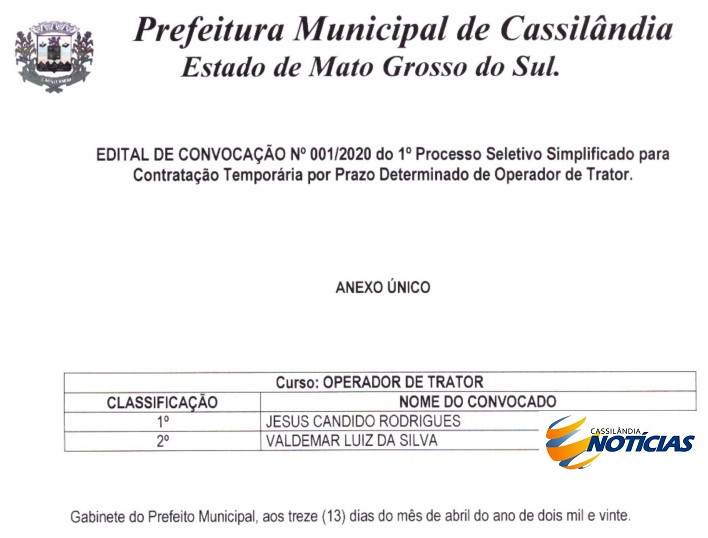 Prefeitura de Cassilândia convoca aprovado em processo seletivo temporário