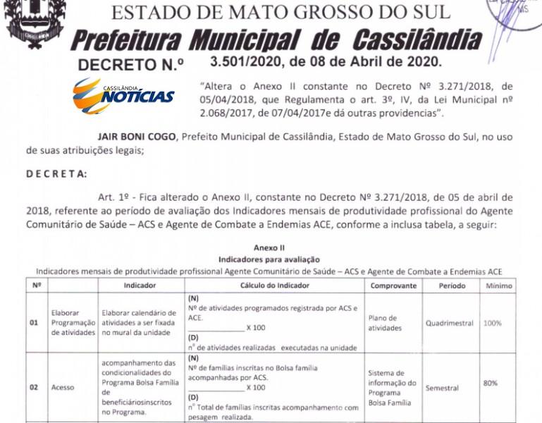 Prefeitura de Cassilândia altera decreto de produtividade de Agentes de Saúde