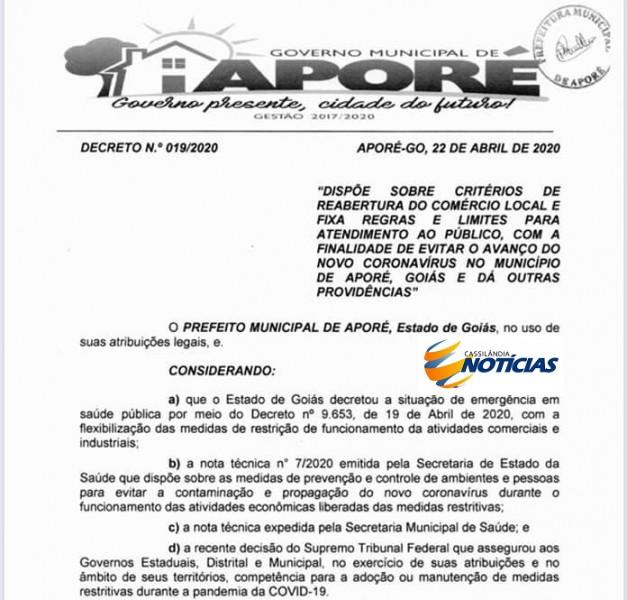 Aporé/Goiás: Prefeitura baixa Decreto com critérios para reabertura do comércio
