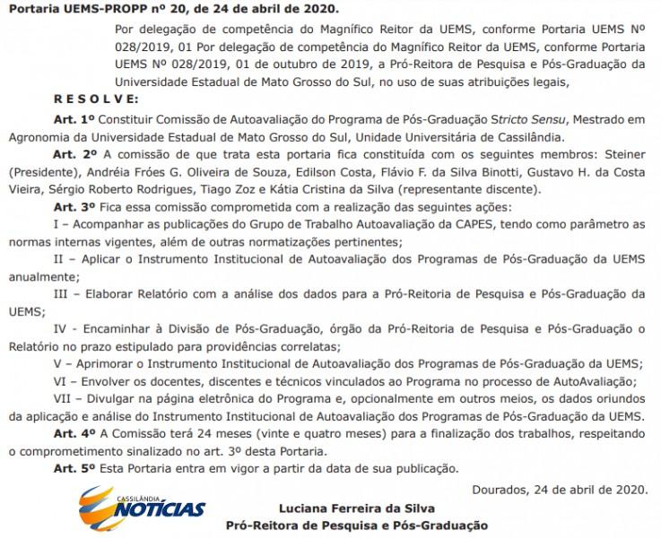 UEMS constitui Comissão de Autoavaliação do Mestrado em Agronomia de Cassilândia