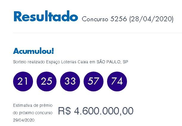 Loterias: Quina acumula