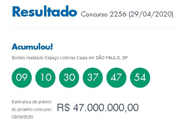Loterias: Mega-Sena acumula
