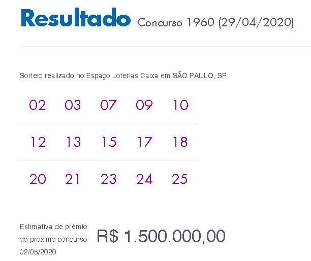 Loterias: Lotofácil sai para 10 apostadores