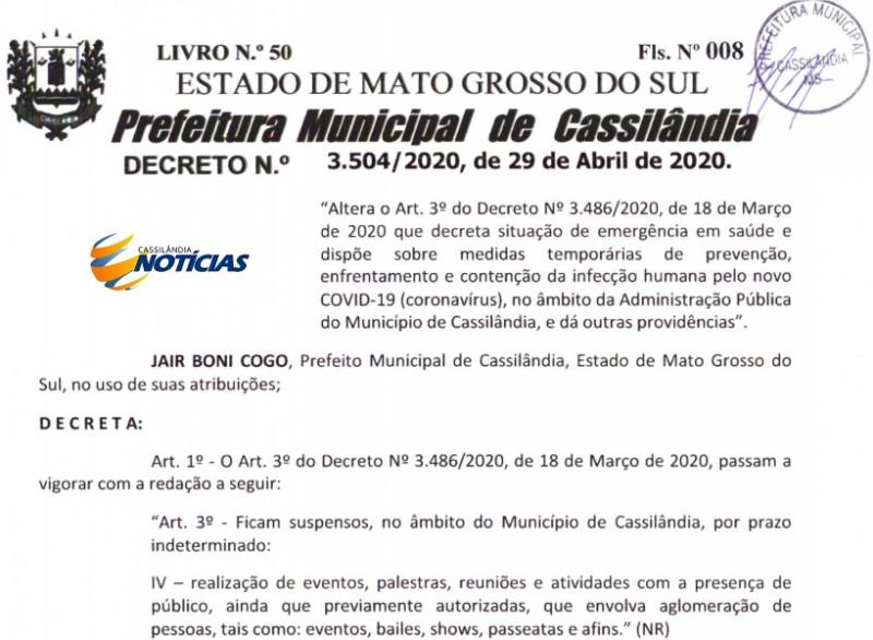 Novo decreto libera práticas esportivas em Cassilândia; confira