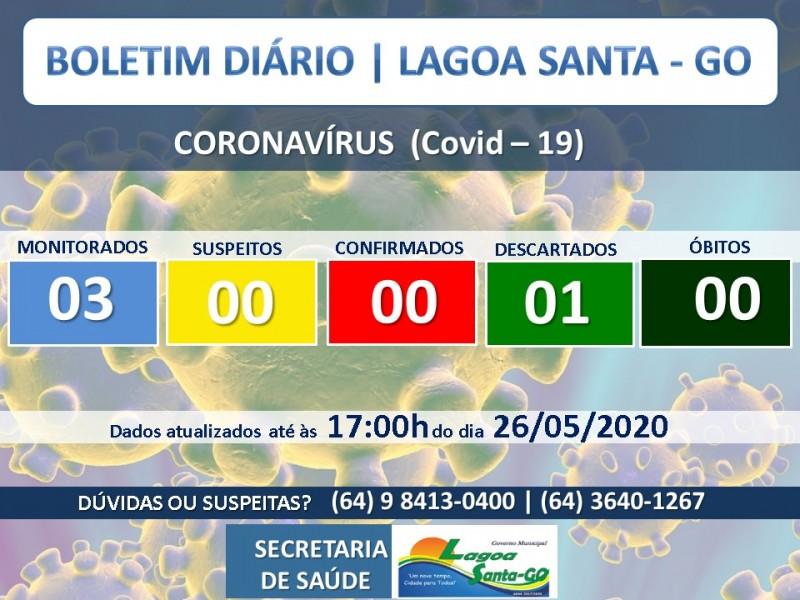 Covid-19: confira o boletim diário da Secretaria de Saúde de Lagoa Santa - GO