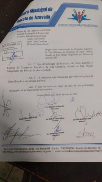 Luzia Amélia Souza postou o projeto de lei da Câmara Municipal de Peixoto de Azevedo homenageando Francisco de Assis Tenório, que faleceu recentemente e foi prefeito daquele município em Mato Grosso