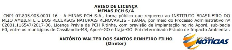 Empresa pede licença prévia para estudo ambiental da PCH Ritinha no Rio Aporé