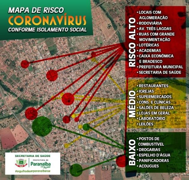 """Prefeitura de Paranaíba divulga o """"Mapa de Risco Coronavírus"""" da cidade; confira"""