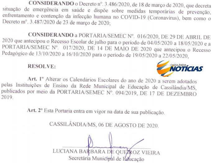 Educação de Cassilândia divulga novo calendário escolar 2020 da rede municipal