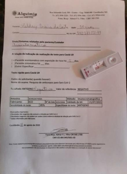 Deu negativo para Coronavírus o teste feito pelo presidente da Câmara Municipal de Cassilândia