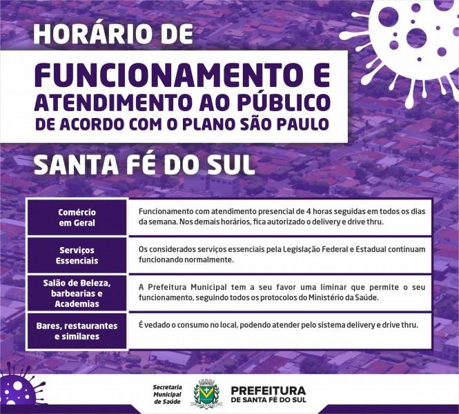 Santa Fé do Sul está na fase laranja do Plano São Paulo; veja o que funciona