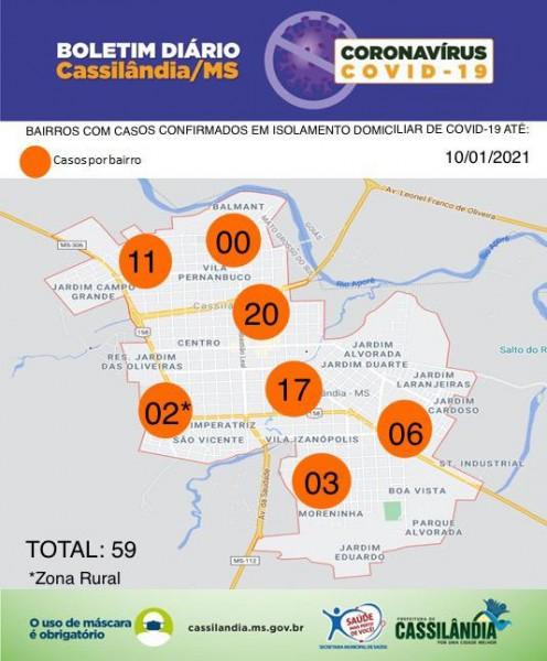 Cassilândia: relação bairros com casos confirmados de coronavírus em isolamento