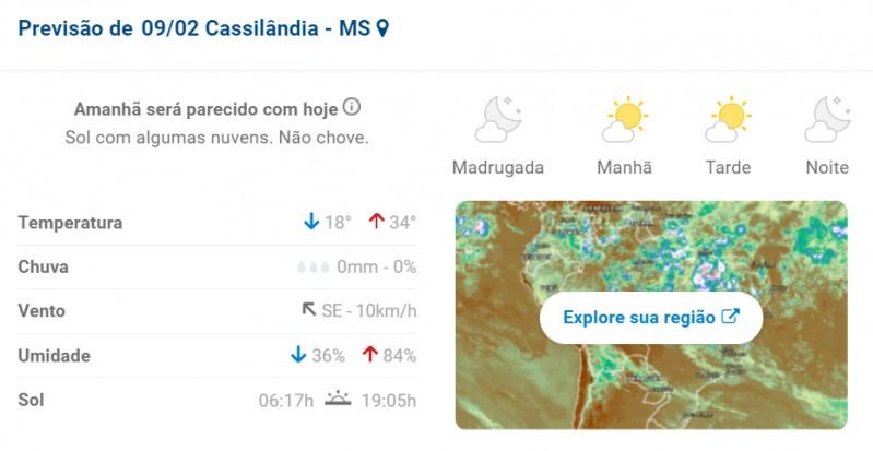 Cassilândia: confira a previsão do tempo para hoje na cidade