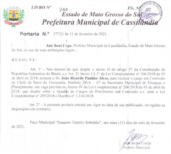 Cassilândia: Prefeito nomeia Chefe de Setor de Tesouraria; veja a foto