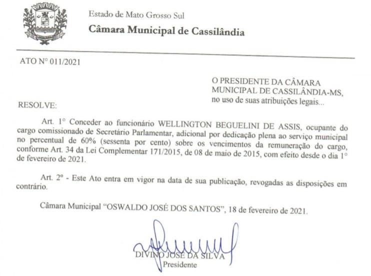 Cassilândia: Câmara concede gratificação por dedicação plena à servidores