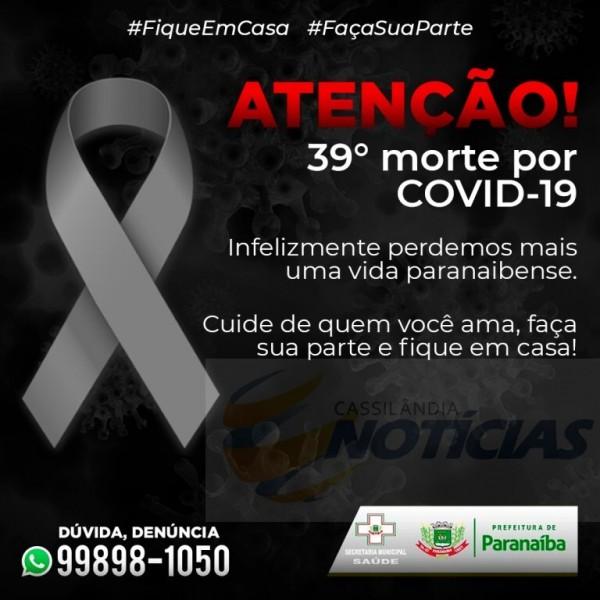 Paranaíba confirma o 39º óbito por Covid-19 no município