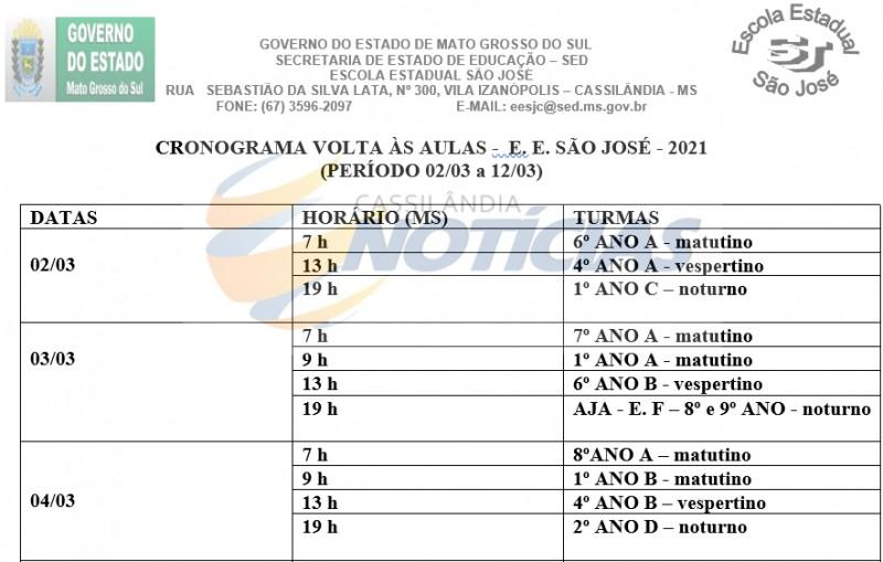 Cassilândia: Escola Estadual São José divulga calendário de volta às aulas