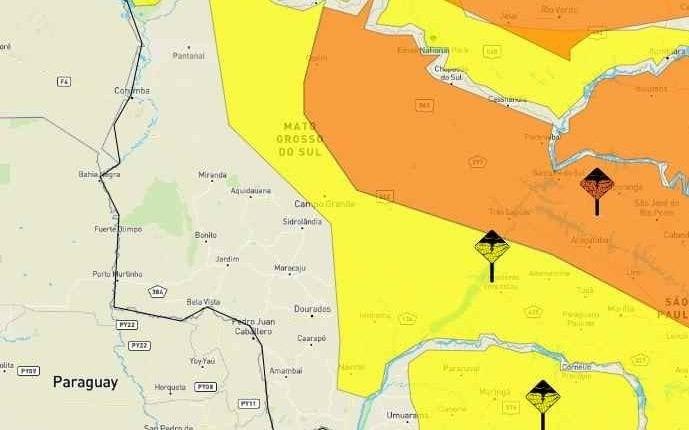 Regiões Norte, Centro, Leste e parte da Sul do Estado estão sob perigo (Foto: Reprodução/Inmet)