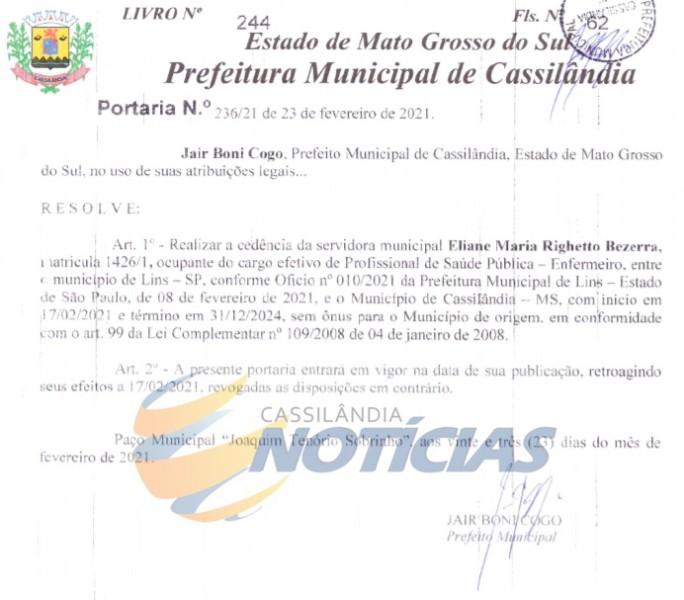 Cassilândia: Prefeitura realiza cedência de enfermeira para Lins, São Paulo