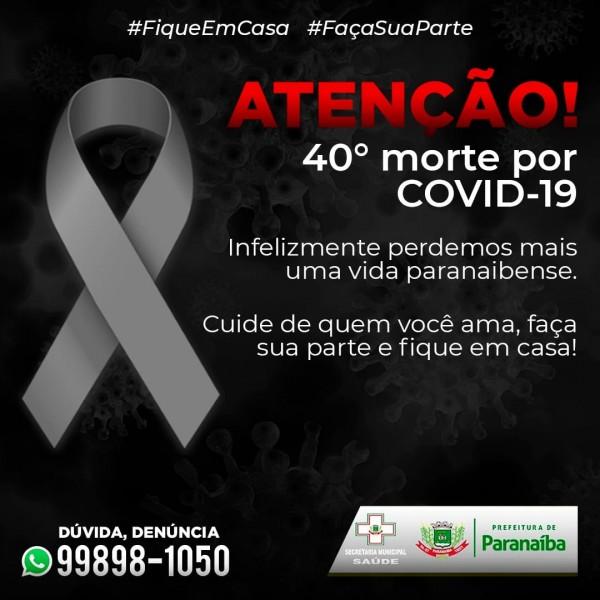 Covid-19: Paranaíba confirma o 40º óbito por coronavírus