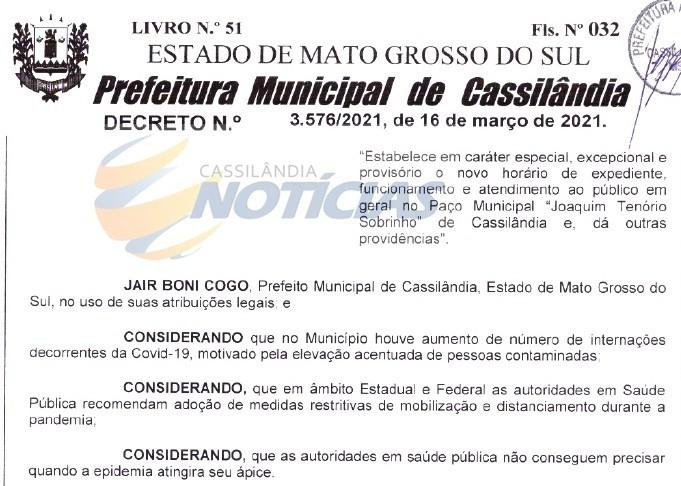 Cassilândia: Prefeitura altera horário de funcionamento por conta da Covid-19