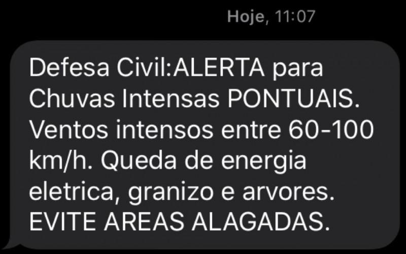 Defesa Civil emite alerta de temporal para todo o Estado