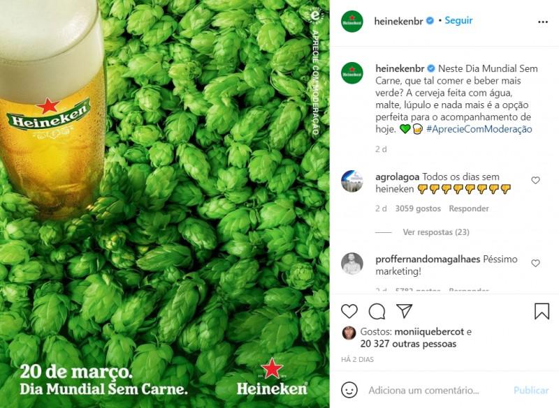 Publicação feita pela Heineken em sua página do Instagram que gerou polêmica entre os internautas.