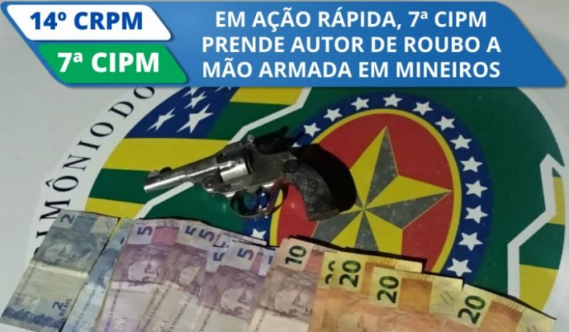 PM prende autor de roubo a mão aramada em Mineiros