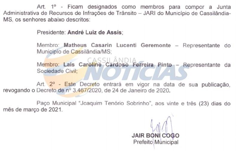 Cassilândia: nomeado os membros da Junta Recursos de Infração de Trânsito - JARI