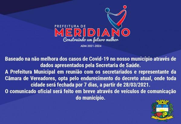 Decreto endurece regras de isolamento e Meridiano será 'fechada' por 7 dias