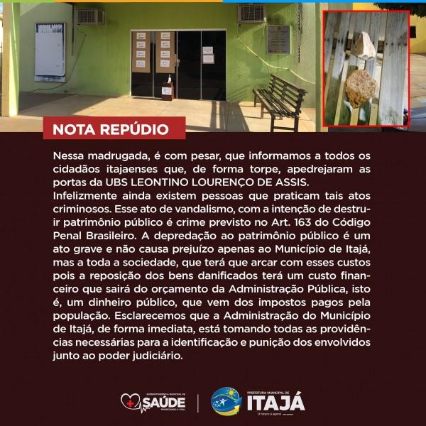 Prefeitura de Itajá emite Nota de Repúdio por vandalismo em UBS da cidade