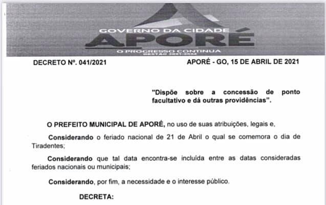 Aporé: Prefeitura decreta ponto facultativo
