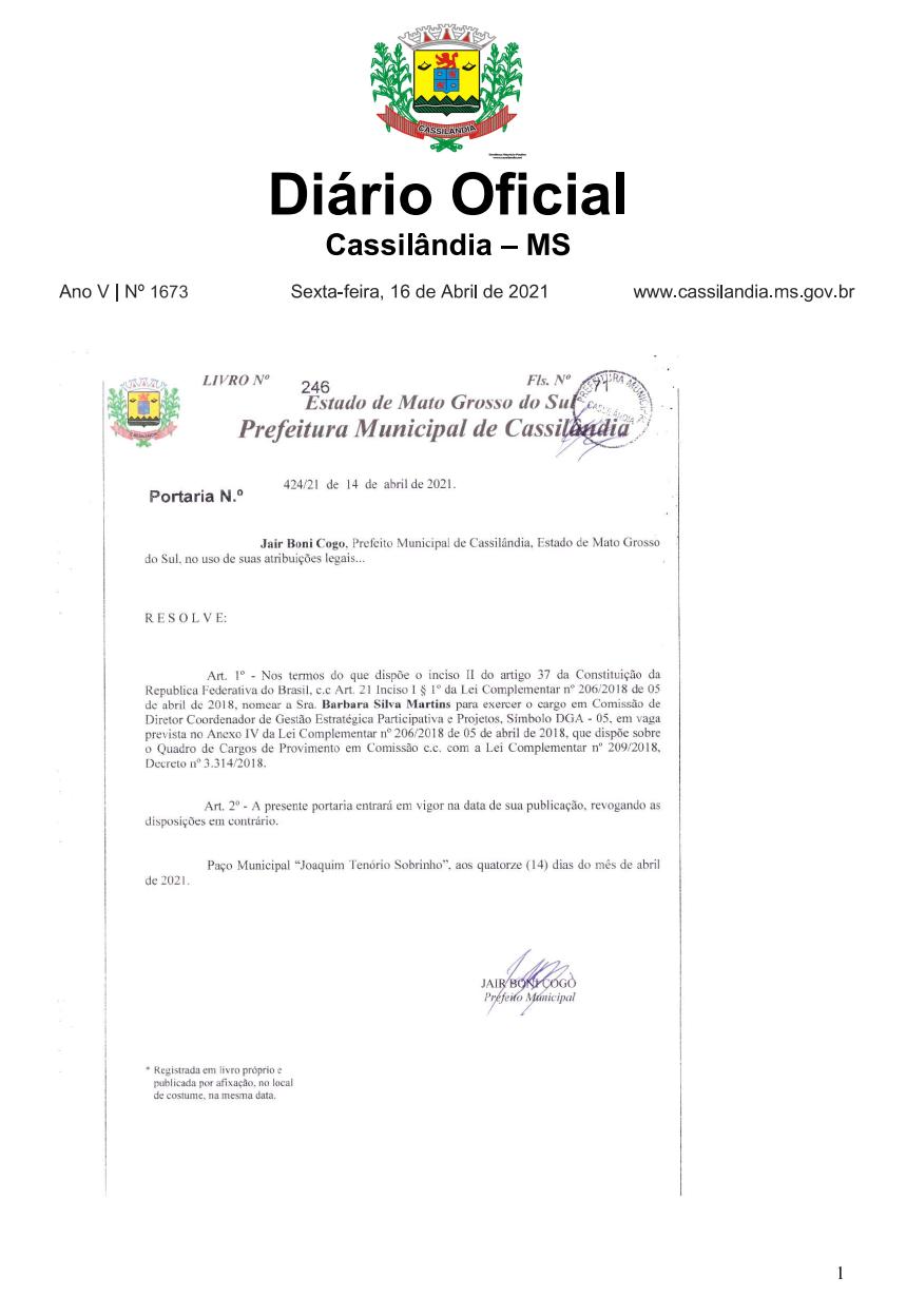 Prefeitura de Cassilândia nomeia Diretor Coordenador de Gestão Estratégica